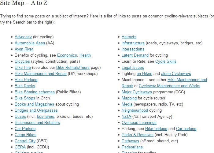 We have quite the range of subjects covered at Cycling in Chch...